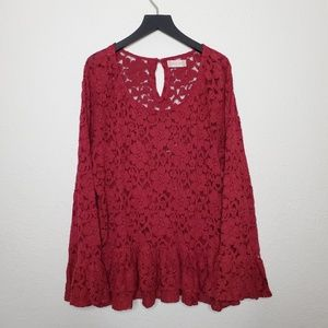 Altar'd State Mickara Red Lace Blouse